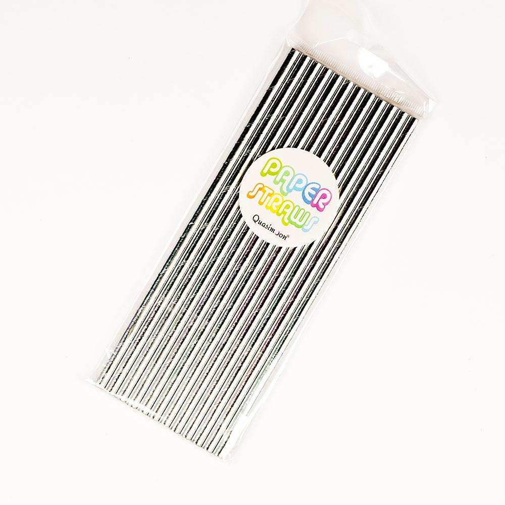 CLOSEOUT Silver Metallic Paper Straws for Parties, Solid Color (12-Pack) - Luna Bazaar | Boho & Vintage Style Decor