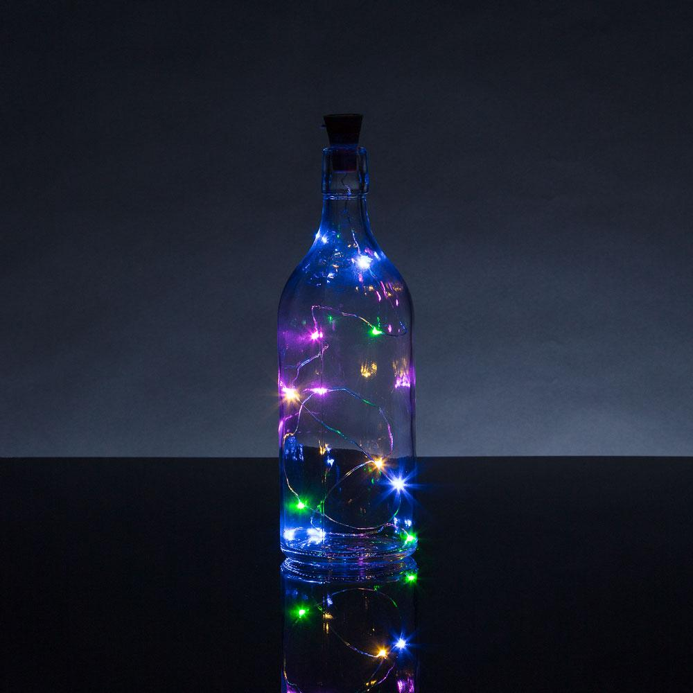 3 Ft 10 Super Bright RGB LED Solar Operated Wine Bottle lights With Cork DIY Fairy String Light For Home Wedding Party Decoration - Luna Bazaar - Discover. Decorate. Celebrate