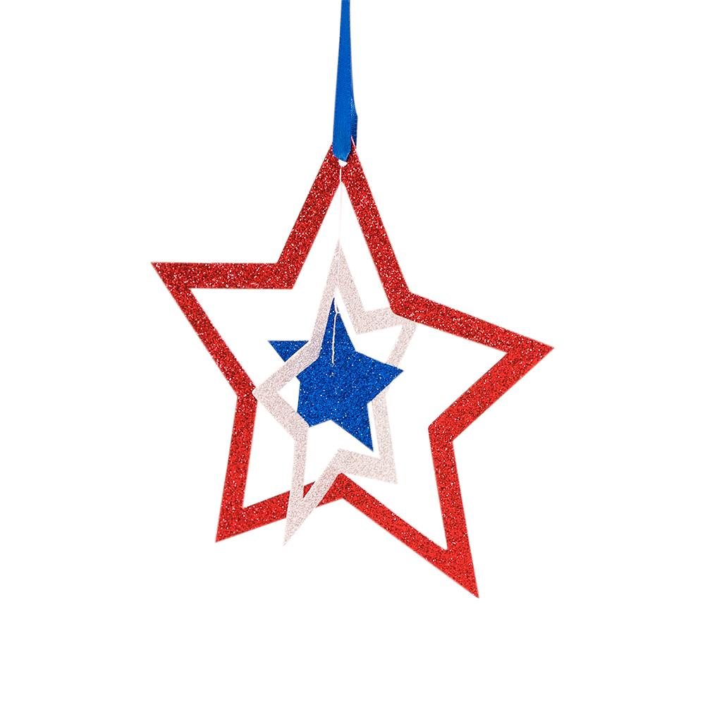 "CLOSEOUT 6"" Cut-Out Stars 4th of July Glitter Red, White Blue Paper Hanging Decoration - Luna Bazaar 