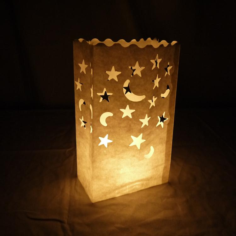 Star Moon Paper Luminaries / Luminary Lantern Bags Path Lighting (10 PACK) - Luna Bazaar | Boho & Vintage Style Decor