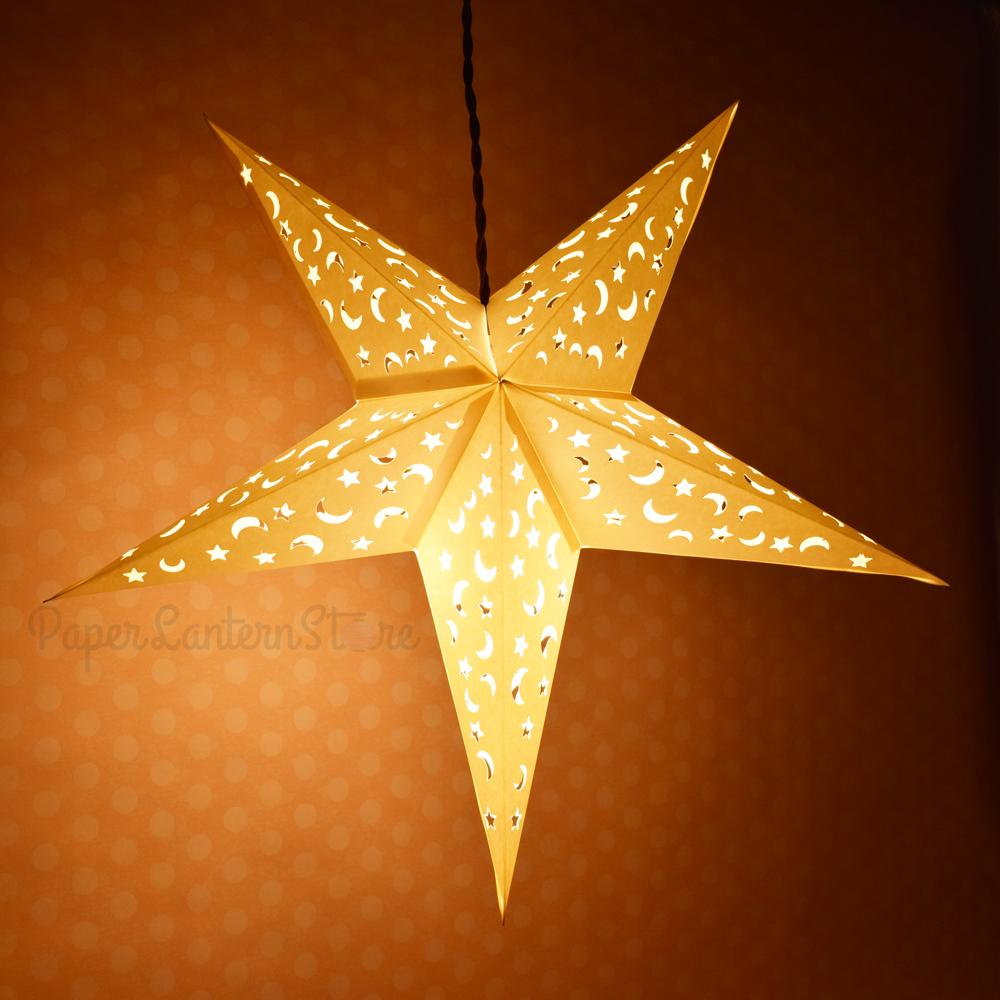 "24"" White Star Moon Cut-Out Paper Star Lantern, Hanging Wedding & Party Decoration - Luna Bazaar 