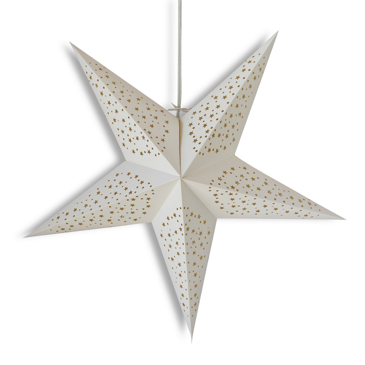 "3-PACK + Cord  24"" White 'Thousand Stars' Paper Star Lantern and Lamp Cord Hanging Decoration - Luna Bazaar 