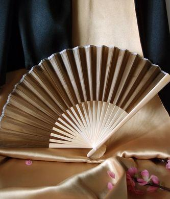 "CLOSEOUT 50-Pack 9"" Olive / Brown Green Silk Hand Fans for Weddings - Luna Bazaar 