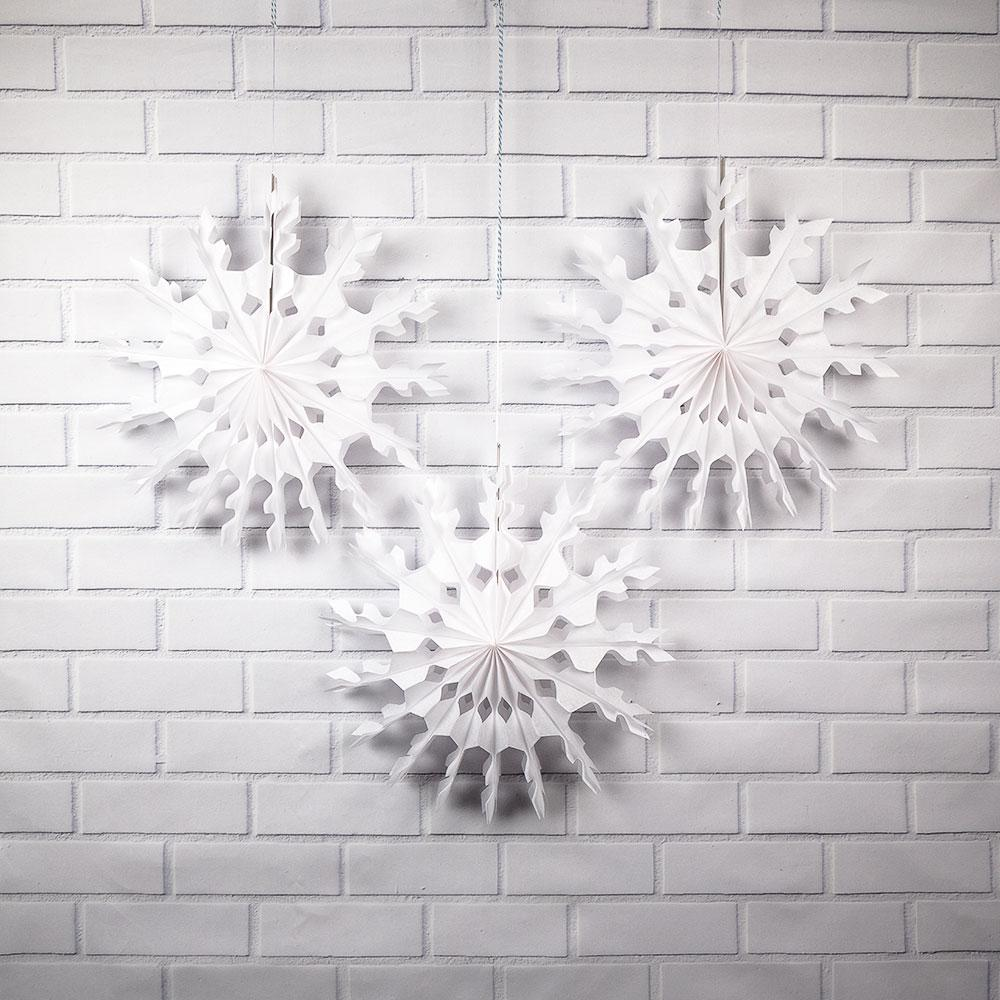 "3-Pack 16"" White Peppermint Tissue Snowflake Hanging Ornament Paper Pinwheel Decoration for Christmas Holiday - Luna Bazaar 
