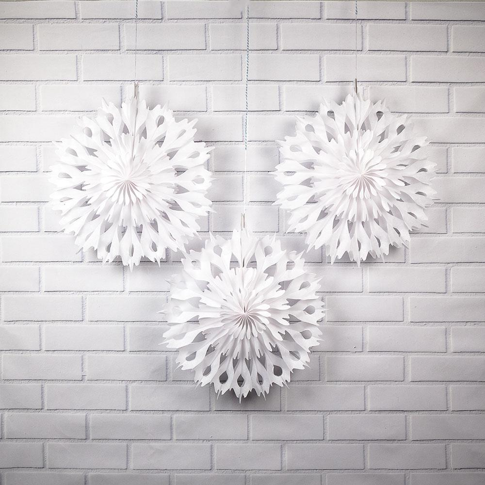 "3-Pack 16"" Winter Wonderland White Tissue Snowflake Hanging Ornament Paper Pinwheel Decoration for Christmas Holiday - Luna Bazaar 