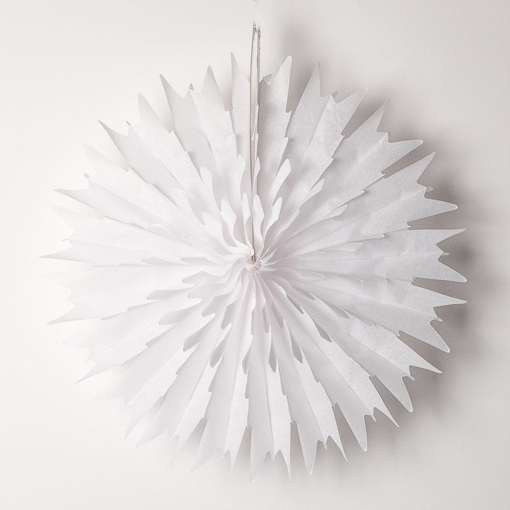 "CLOSEOUT 16"" White Frosted Tissue Snowflake Hanging Ornament Paper Pinwheel Decoration for Christmas Holiday - Luna Bazaar 