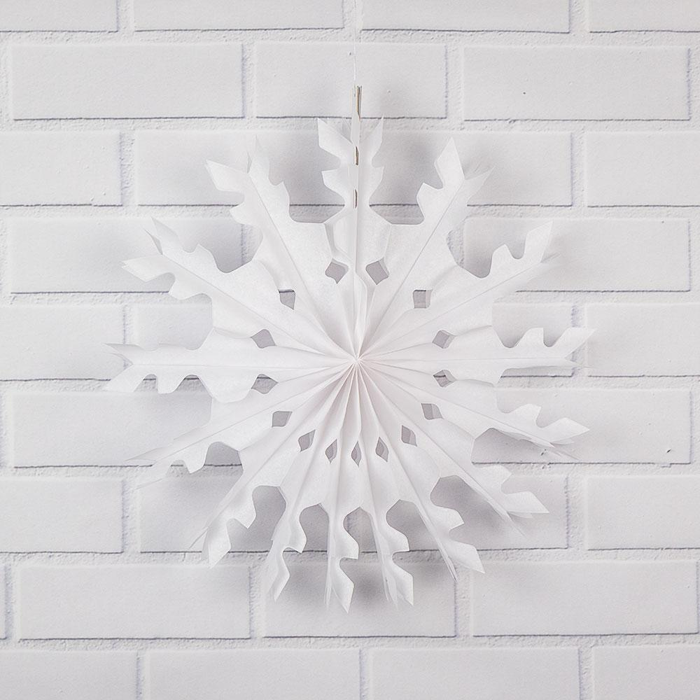 "16"" White Peppermint Tissue Snowflake Hanging Ornament Paper Pinwheel Decoration for Christmas Holiday - Luna Bazaar 
