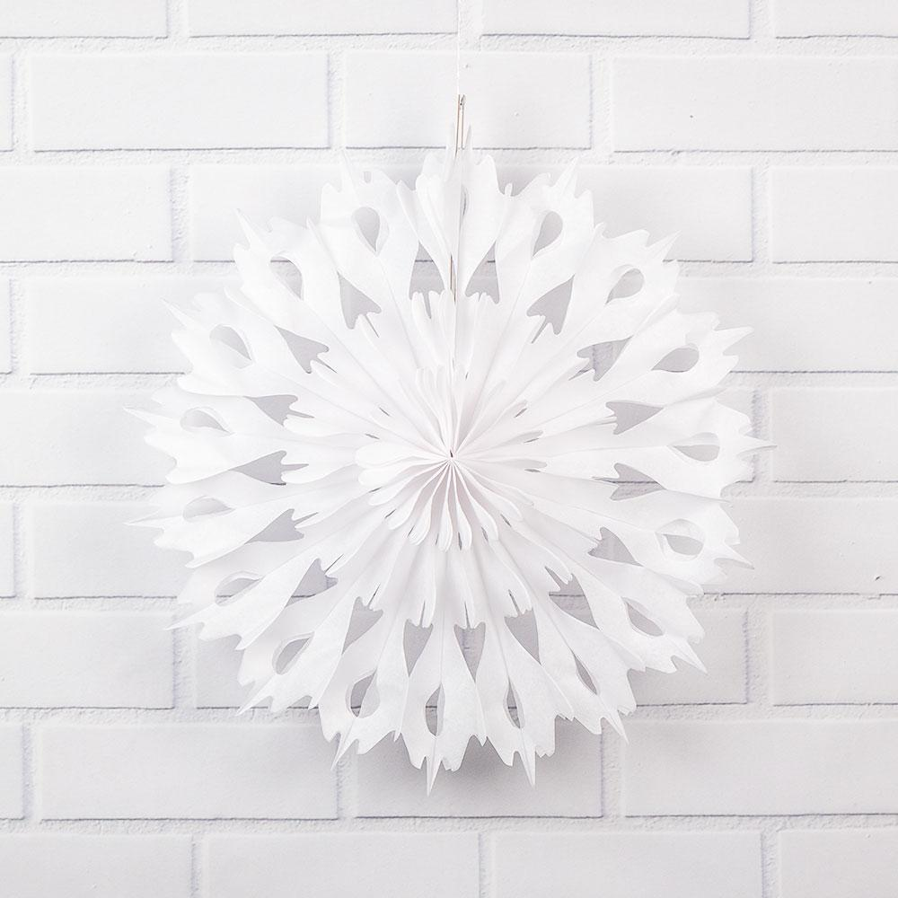 "16"" Winter Wonderland White Tissue Snowflake Hanging Ornament Paper Pinwheel Decoration for Christmas Holiday - Luna Bazaar 