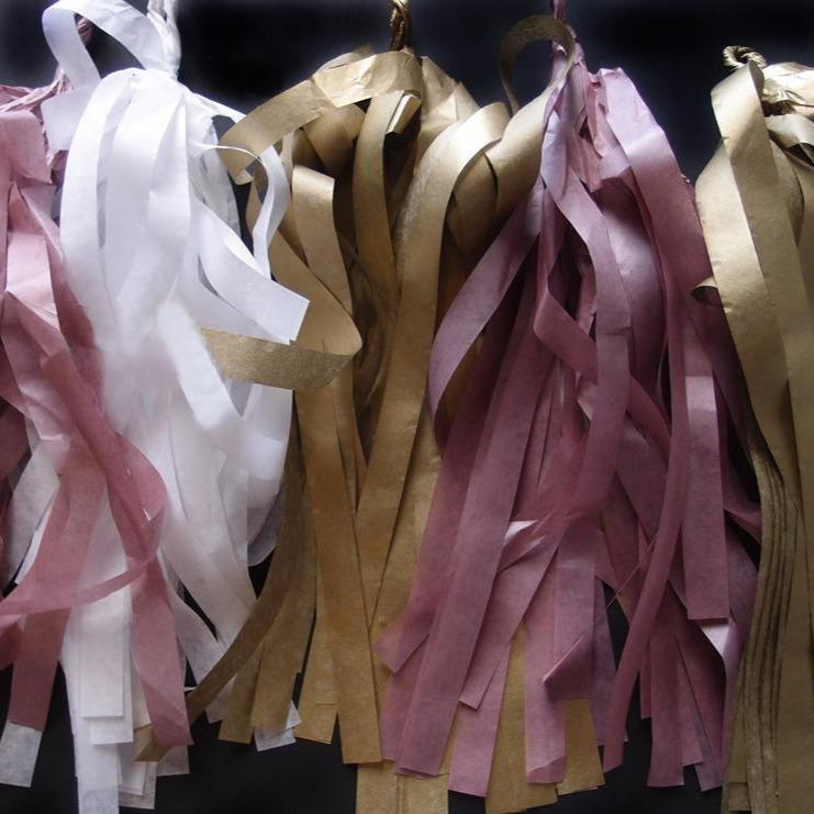 CLOSEOUT Tissue Paper Tassel Garland Kit - Golden Party (Gold, White, Light Rose Colors) - Luna Bazaar | Boho & Vintage Style Decor