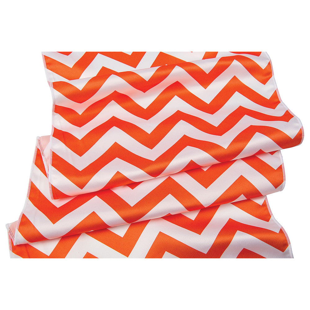 Mango Orange Chevron Table Runner, 14 x 108 Inches - Luna Bazaar | Boho & Vintage Style Decor
