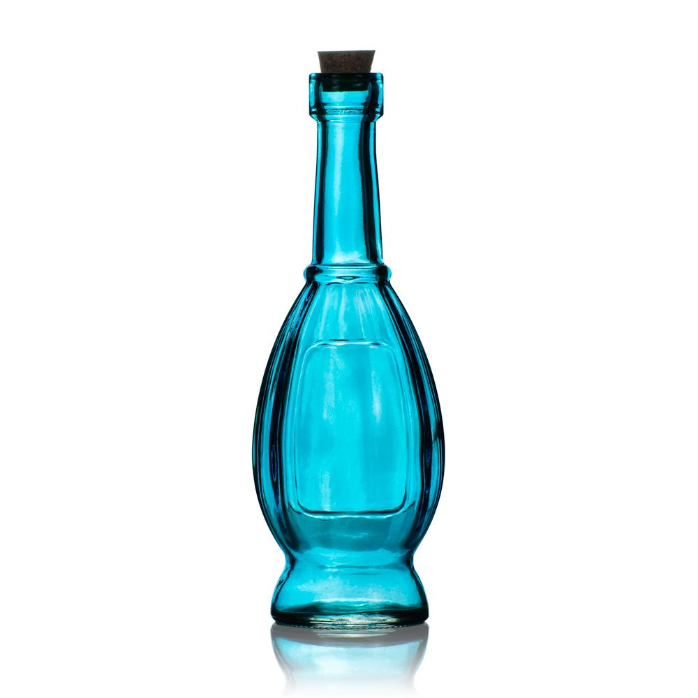 "6.5"" Vera Turquoise Vintage Glass Bottle with Cork - DIY Wedding Flower & Bud Vases - Luna Bazaar 