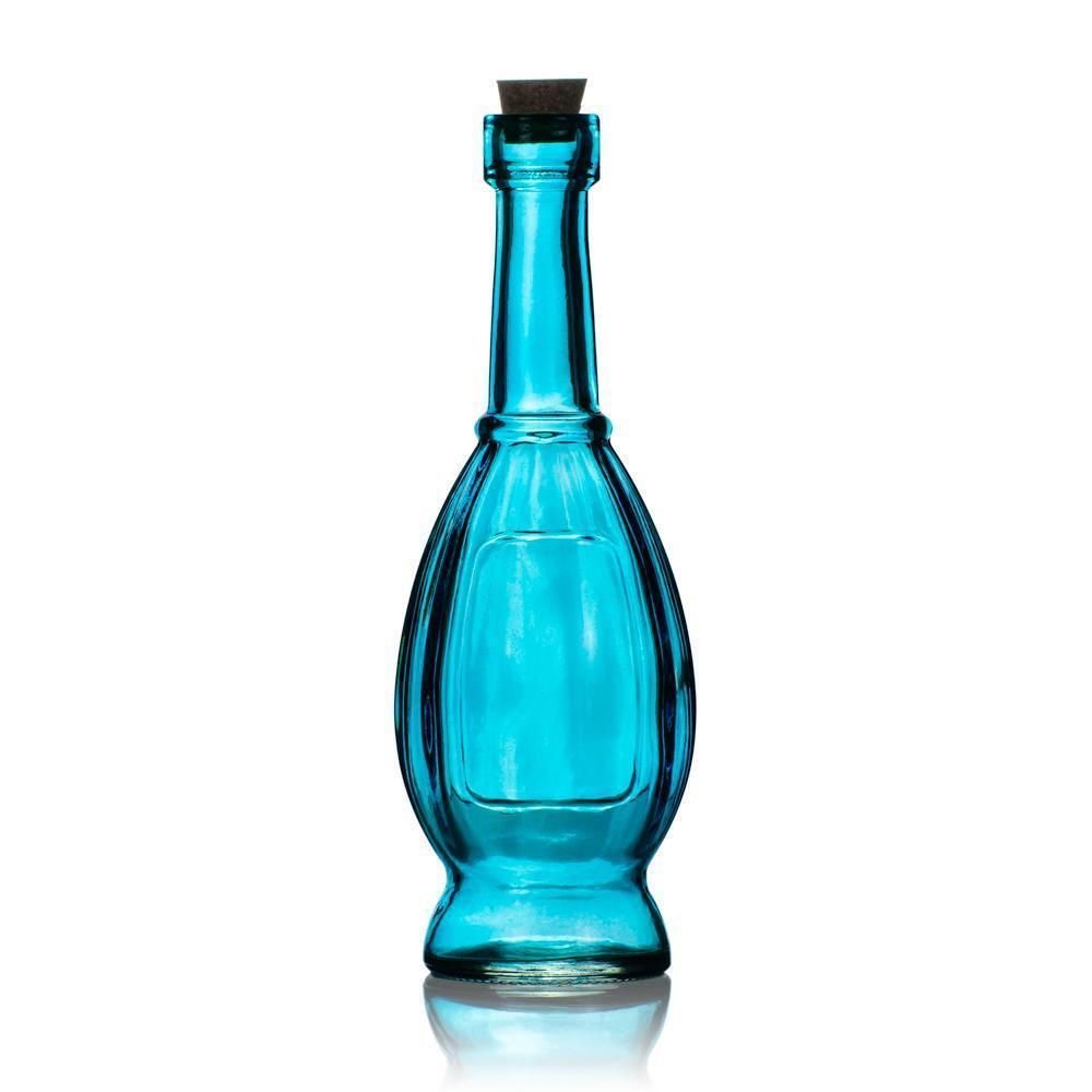 Shabby Chic Turquoise Blue Vintage Glass Bottles Set - (5 Pack, Assorted Designs)