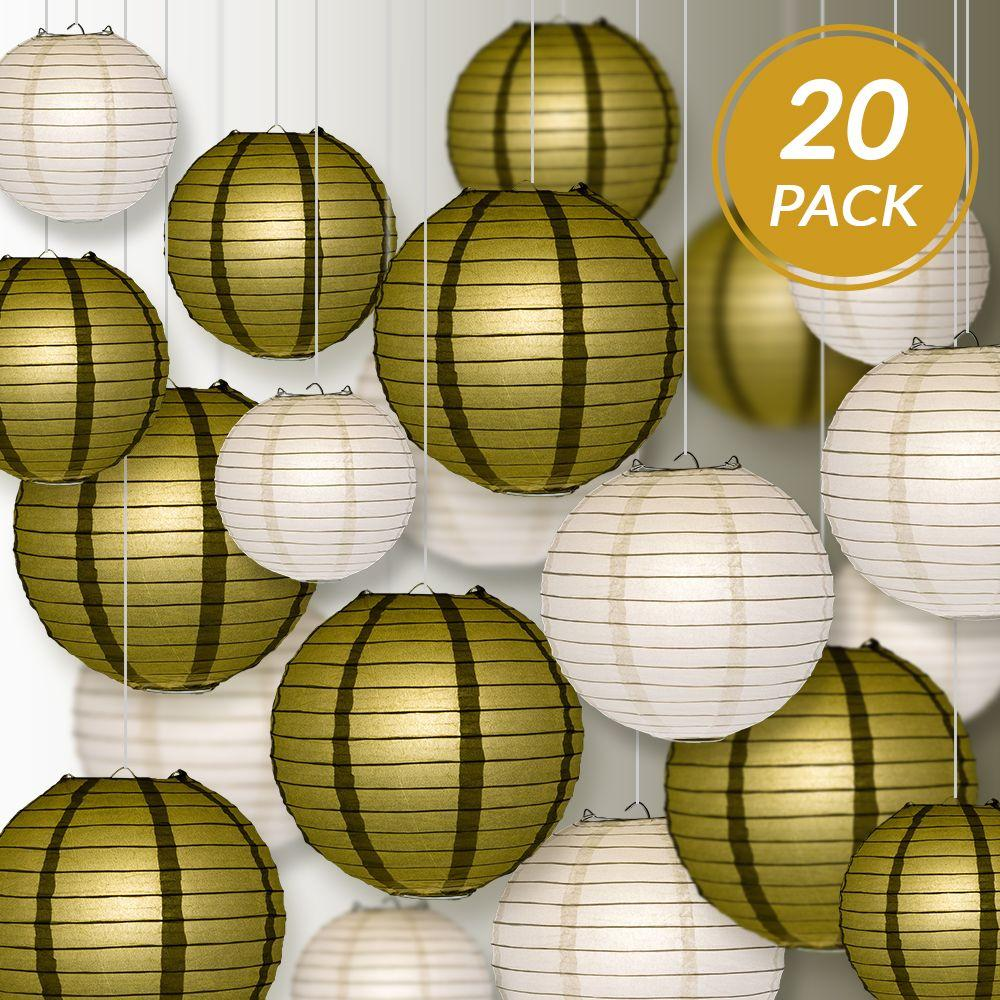 "Ultimate 20-Piece Gold Variety Paper Lantern Party Pack - Assorted Sizes of 6"", 8"", 10"", 12"" (5 Round Lanterns Each) for Weddings, Events and Decor - Luna Bazaar 