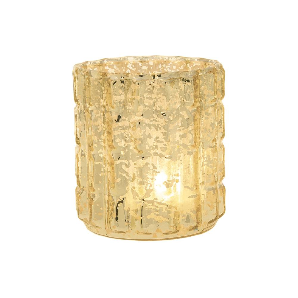 CLOSEOUT Vintage Mercury Glass Candle Holder (2.75-Inch, Helen Design, Fluted Column Motif, Gold) - For Use with Tea Lights - For Parties, Weddings, and Homes - Luna Bazaar | Boho & Vintage Style Decor