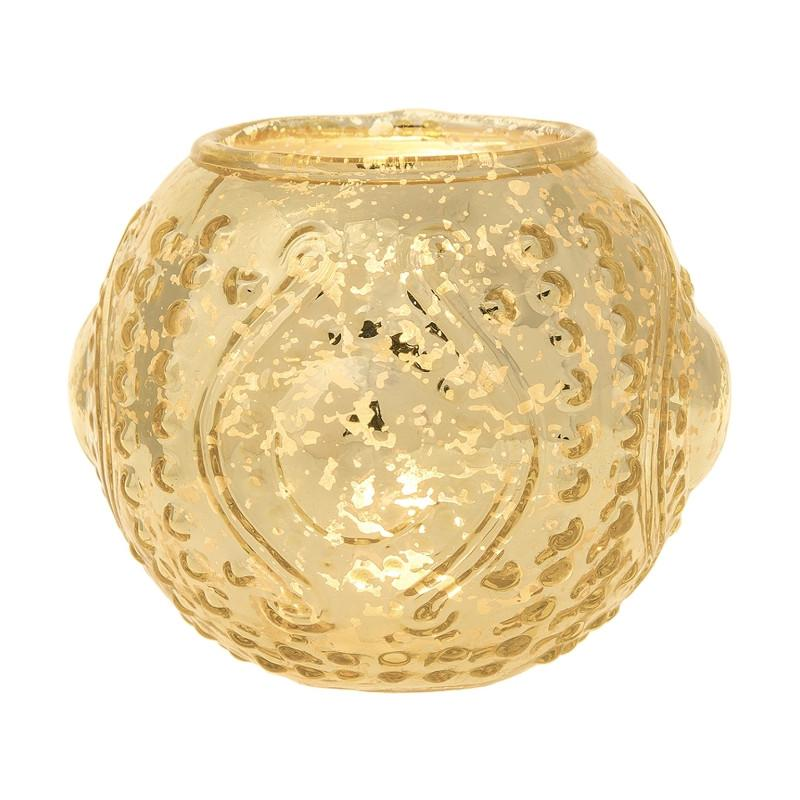 CLOSEOUT Mercury Glass Candle Holder (5.75-Inches, Large Josephine Design, Gold) - Use with Tea lights - for Home Decor, Parties and Wedding Decorations - Luna Bazaar - Discover. Decorate. Celebrate