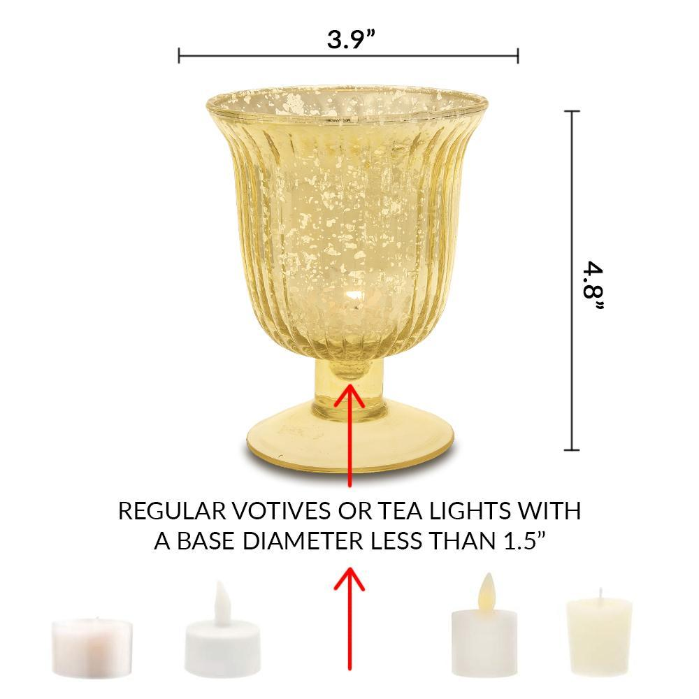 Vintage Mercury Glass Candle Holder (5-Inch, Emma Design, Fluted Urn, Pearl White) - Decorative Candle Holder - For Home Decor and Wedding Centerpieces - Luna Bazaar | Boho & Vintage Style Decor