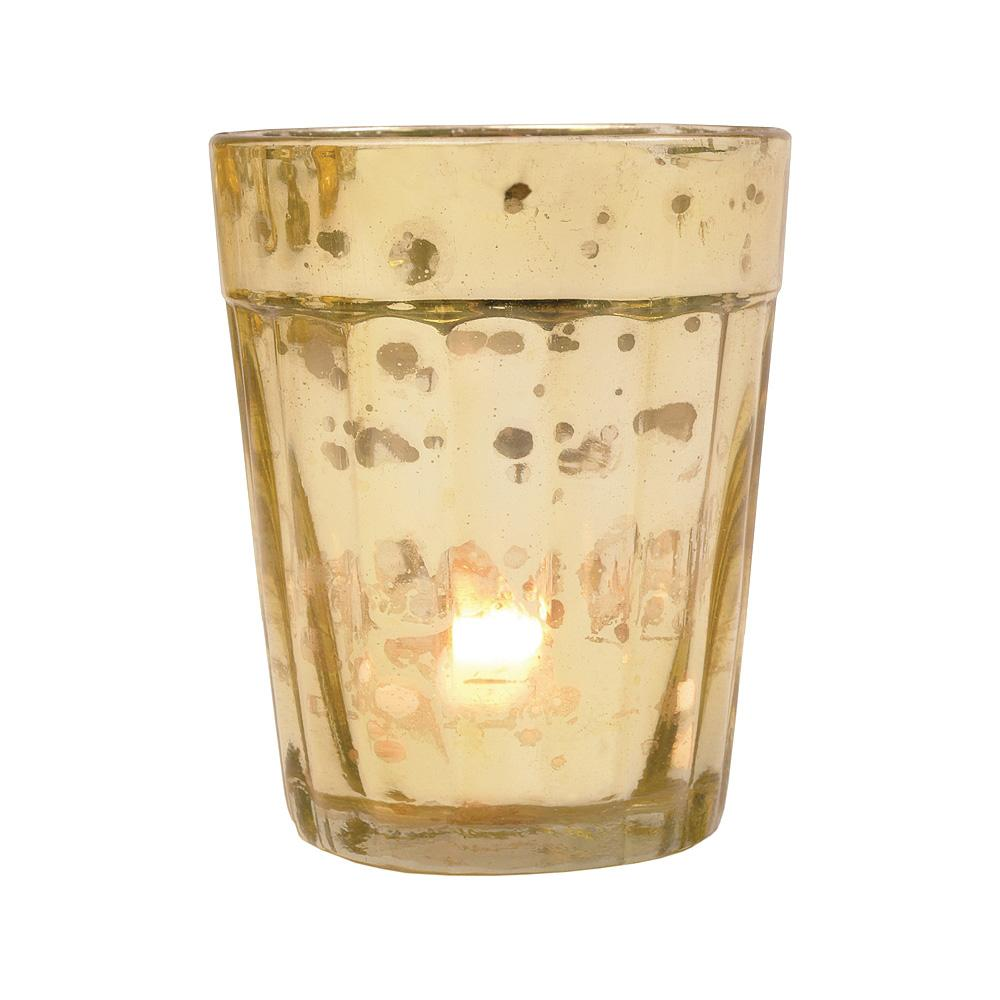 Vintage Mercury Glass Candle Holder (3.25-Inch, Katelyn Design, Column Motif, Gold) - For Use with Tea Lights - Home Decor and Wedding Decorations - Luna Bazaar | Boho & Vintage Style Decor