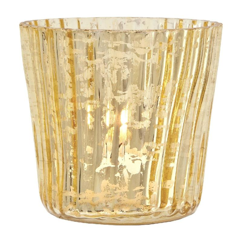 Vintage Mercury Glass Candle Holders (3-Inch, Caroline Design, Vertical Motif, Gold) - For Use with Tea Lights - For Parties, Weddings, and Homes - Luna Bazaar | Boho & Vintage Style Decor