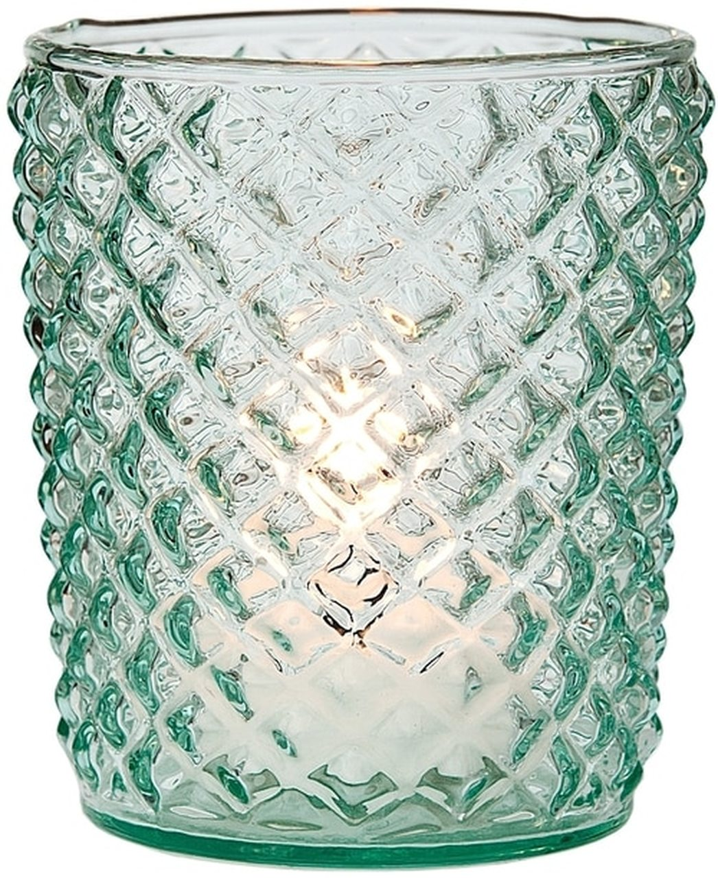 Vintage Glass Candle Holder (3-Inch, Zariah Design, Vintage Green) - For Use with Tea Lights - For Home Decor, Parties, and Wedding Decorations - Luna Bazaar | Boho & Vintage Style Decor