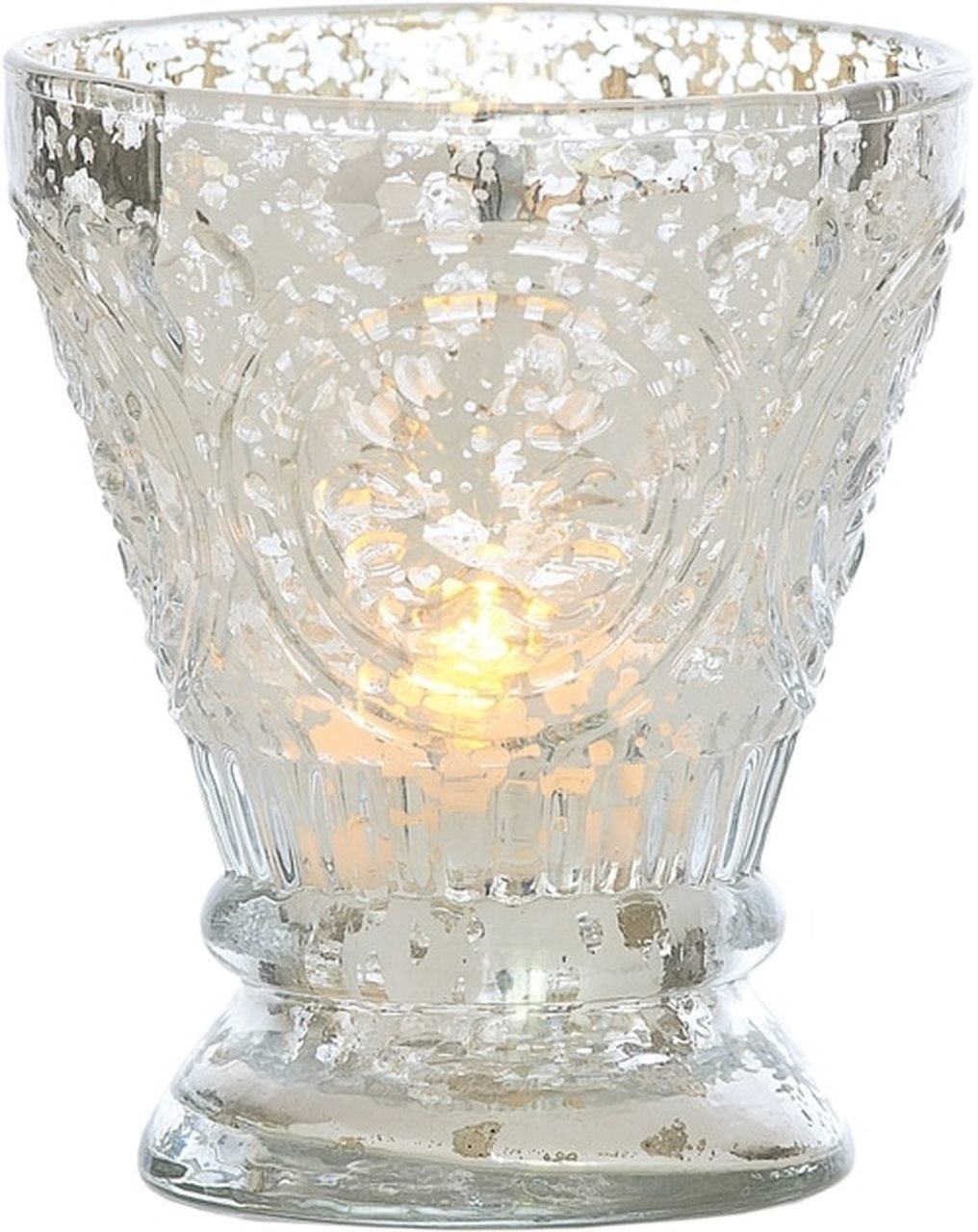 Vintage Mercury Glass Candle Holder (4-Inch, Rosemary Design, Silver) - For Use with Tea Lights - For Home Decor, Parties, and Wedding Decorations - Luna Bazaar | Boho & Vintage Style Decor