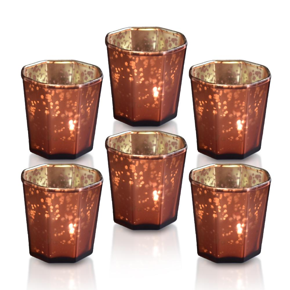 6-Pack Patricia Mercury Glass Tealight Holders (Rustic Copper Red) For Use with Tea Lights - Luna Bazaar - Discover. Decorate. Celebrate