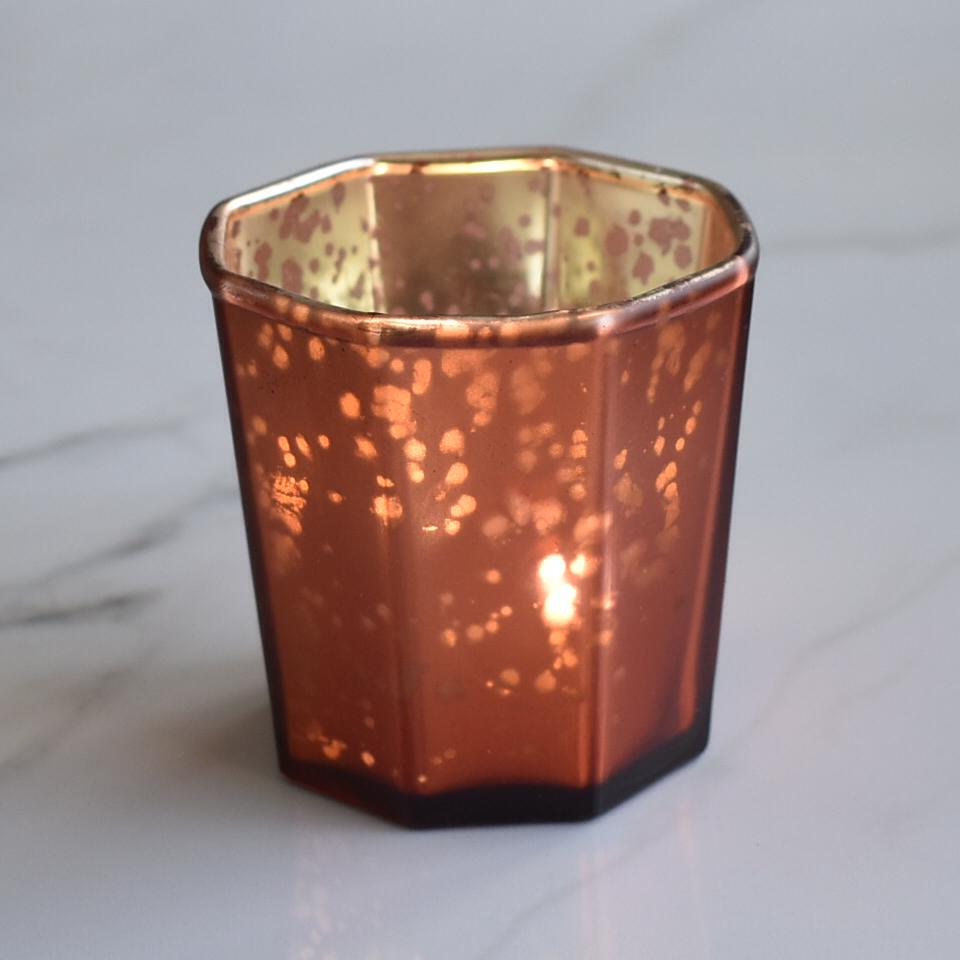 CLOSEOUT Patricia Mercury Glass Tealight Holder (Rustic Copper Red, Single) For Use with Tea Lights - For Home Decor, Parties and Wedding Decorations - Luna Bazaar | Boho & Vintage Style Decor
