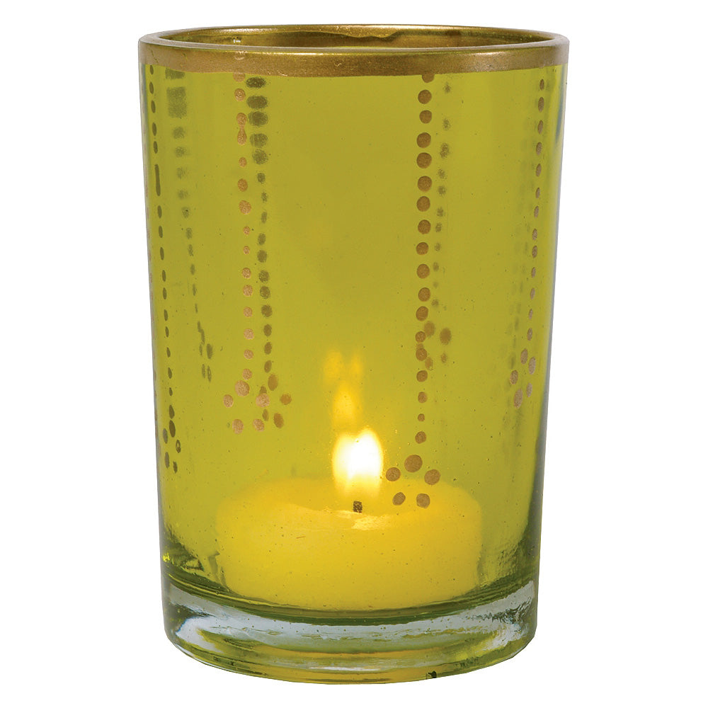 CLOSEOUT Chartreuse Green & Gold Justine Colored Glass Candle Holder - Luna Bazaar | Boho & Vintage Style Decor