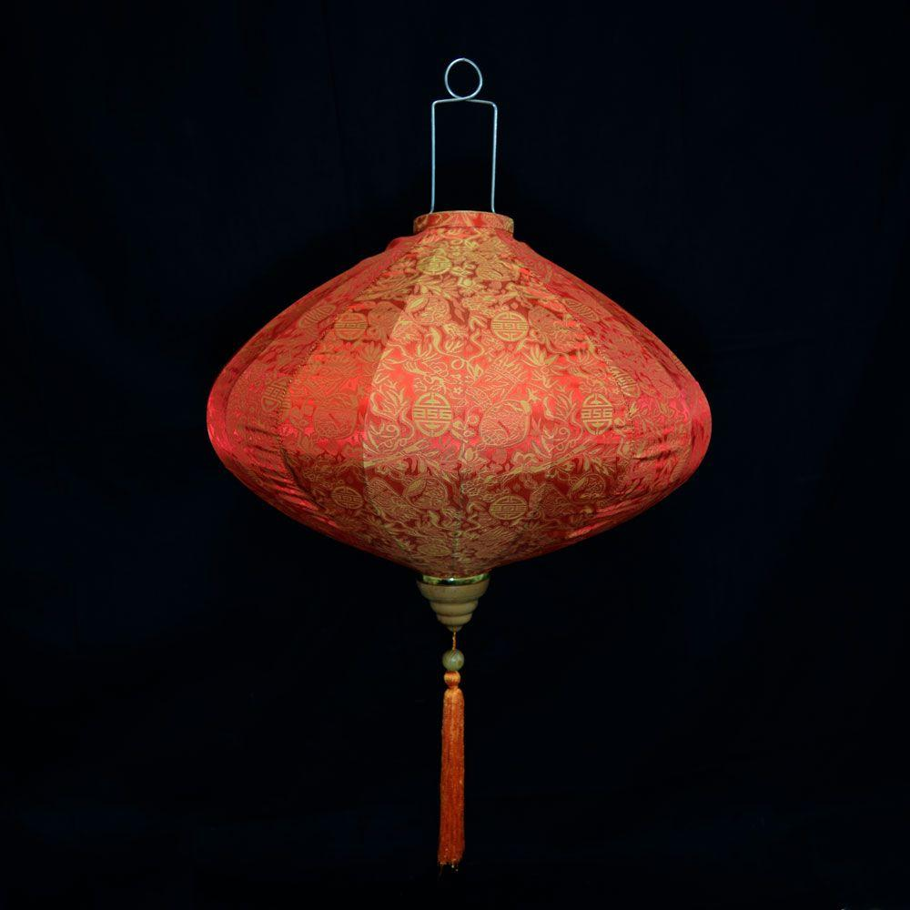 XXL Large Red / Orange Vietnamese Silk Lantern, Diamond Shaped - Luna Bazaar | Boho & Vintage Style Decor