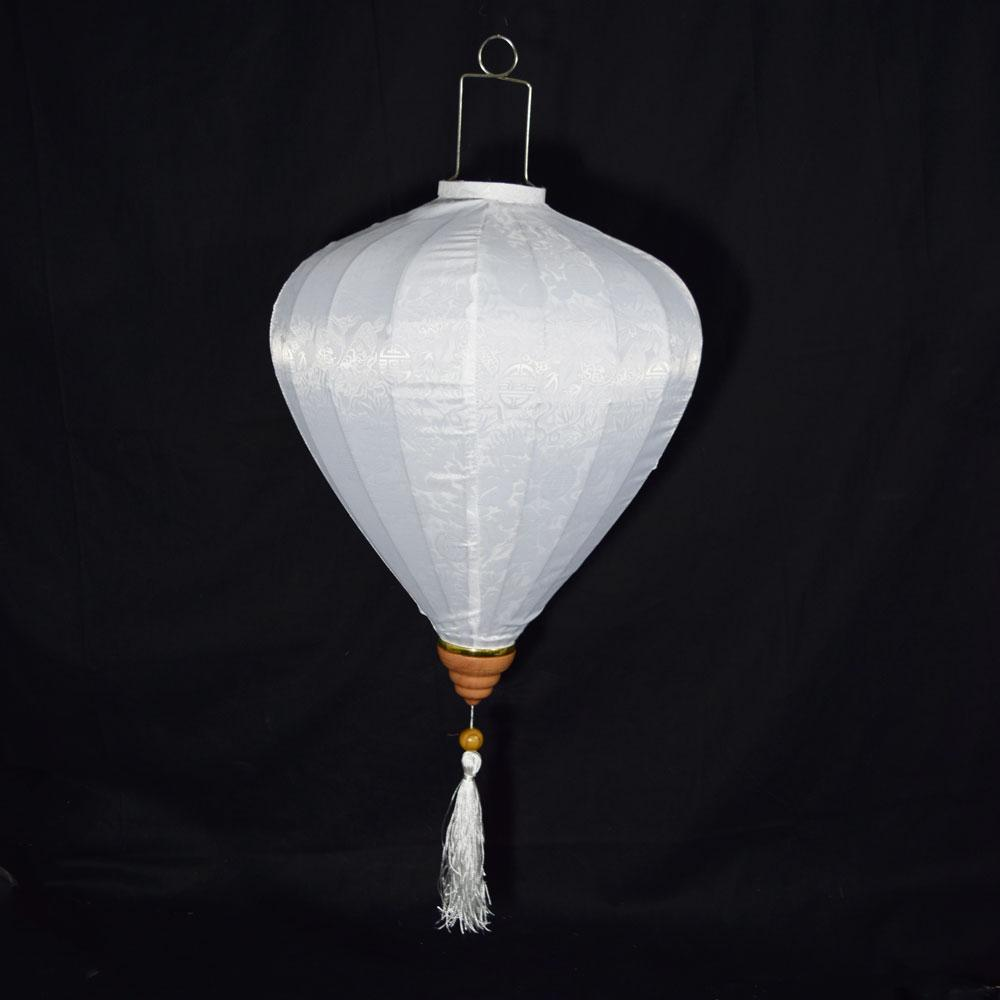 Large White Vietnamese Silk Lantern, Garlic Umbrella Shaped - Luna Bazaar | Boho & Vintage Style Decor