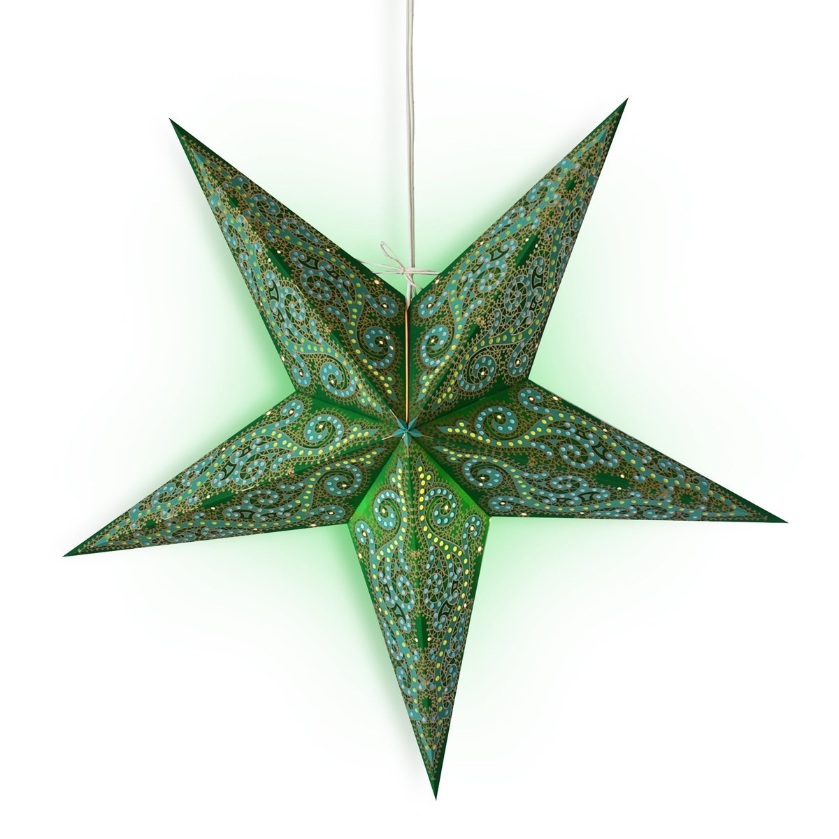 "3-PACK + Cord  24"" Green Vines Glitter Paper Star Lantern and Lamp Cord Hanging Decoration - Luna Bazaar 