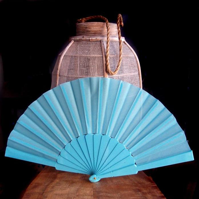 "CLOSEOUT 9"" Water Blue Nylon Hand Fans for Weddings (10 Pack) - Luna Bazaar - Discover. Decorate. Celebrate"