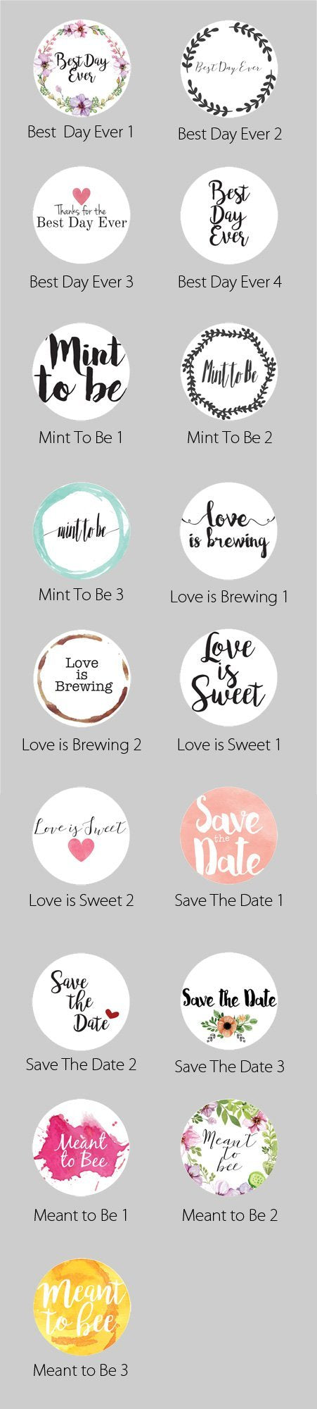 2.5 Inch Wedding Themed Circle Label Stickers for Party Favors & Invitations (Pre-Set Designed, 24 Labels) - Luna Bazaar | Boho & Vintage Style Decor