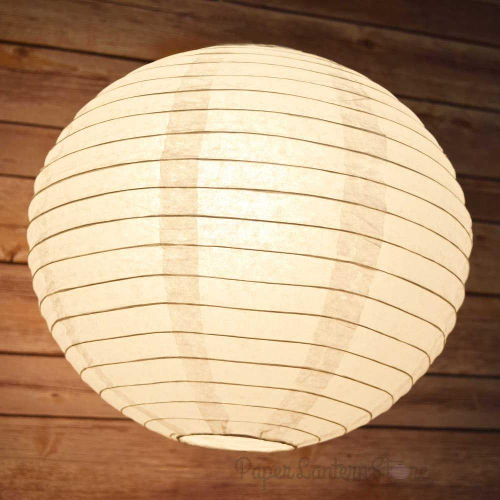 "10-Pack 16"" White Parallel Ribbing Round Paper Lanterns - Luna Bazaar 