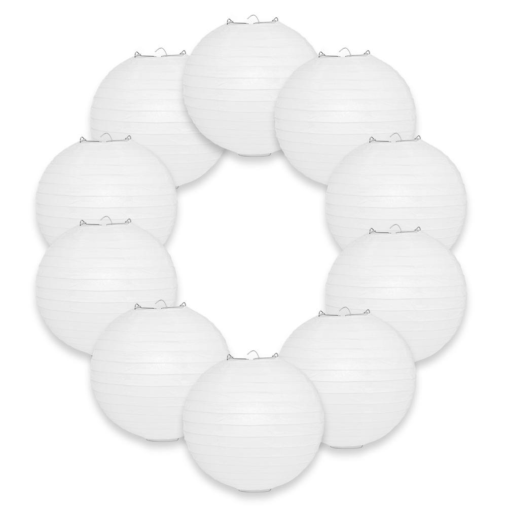 "10-Pack 8"" White Parallel Ribbing Round Paper Lanterns - Luna Bazaar - Discover. Decorate. Celebrate"
