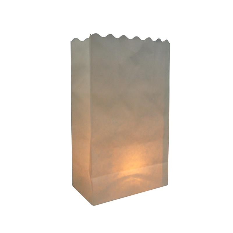 White Solid Color Paper Luminaries / Luminary Lantern Bags Path Lighting (10 PACK) - Luna Bazaar | Boho & Vintage Style Decor