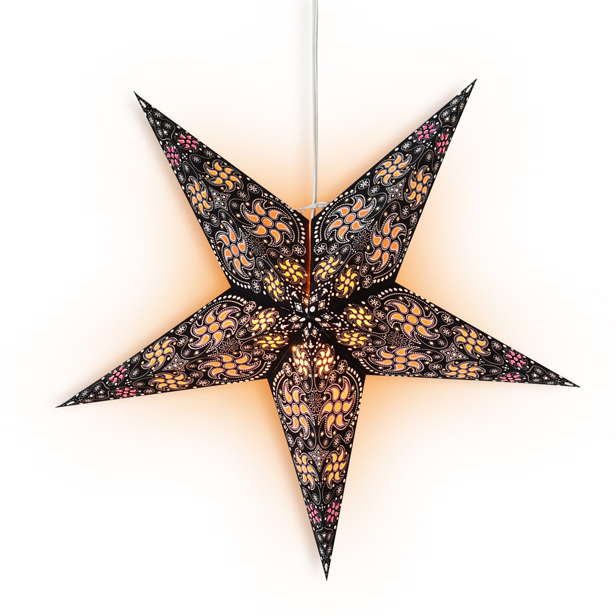 "CLOSEOUT 24"" Black Multi-Color Winds Paper Star Lantern, Hanging Wedding & Party Decoration - Luna Bazaar 