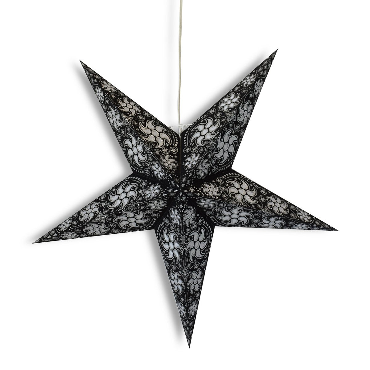 "24"" Black Winds Paper Star Lantern, Hanging Wedding & Party Decoration - Luna Bazaar 