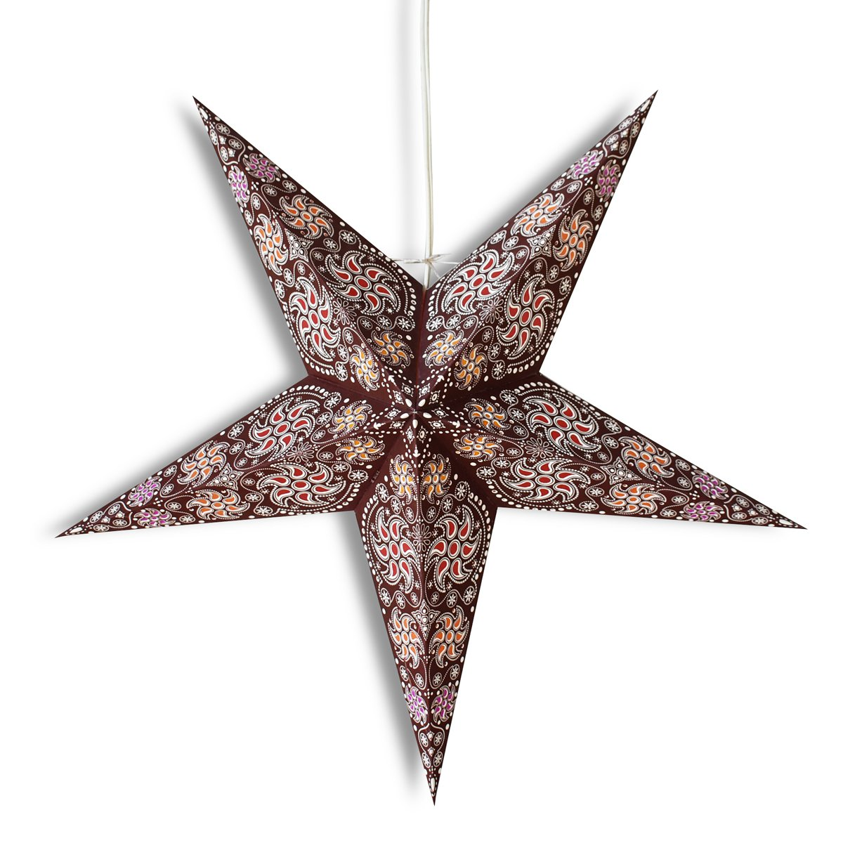 "CLOSEOUT 24"" Brown Winds Paper Star Lantern, Hanging Wedding & Party Decoration - Luna Bazaar 