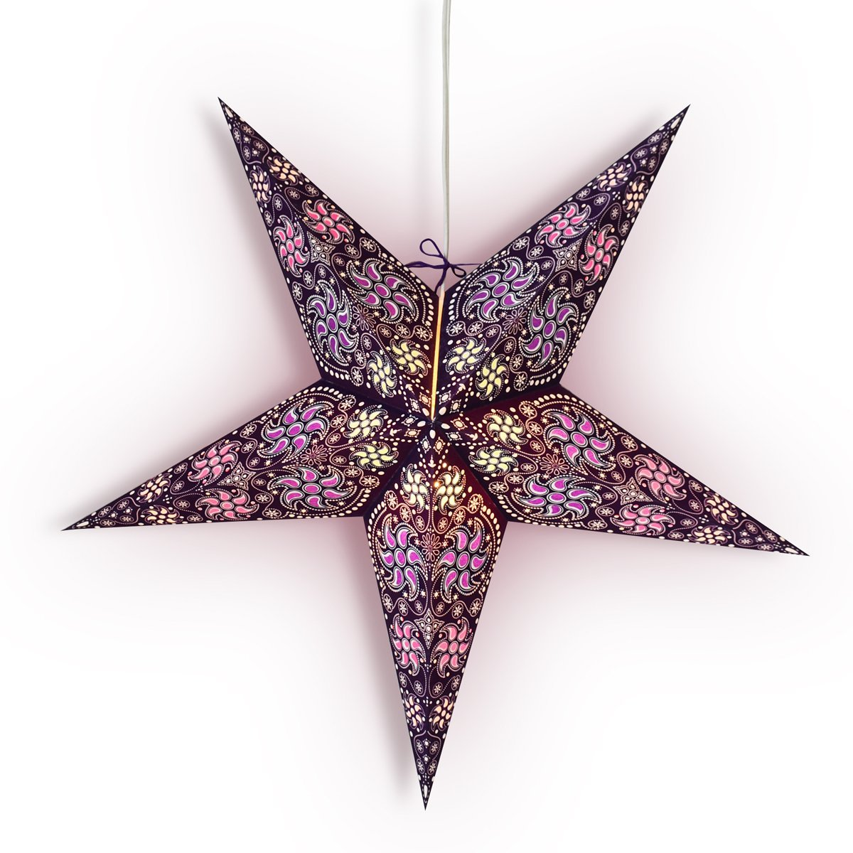 "3-PACK + Cord  24"" Purple Winds Paper Star Lantern and Lamp Cord Hanging Decoration - Luna Bazaar 