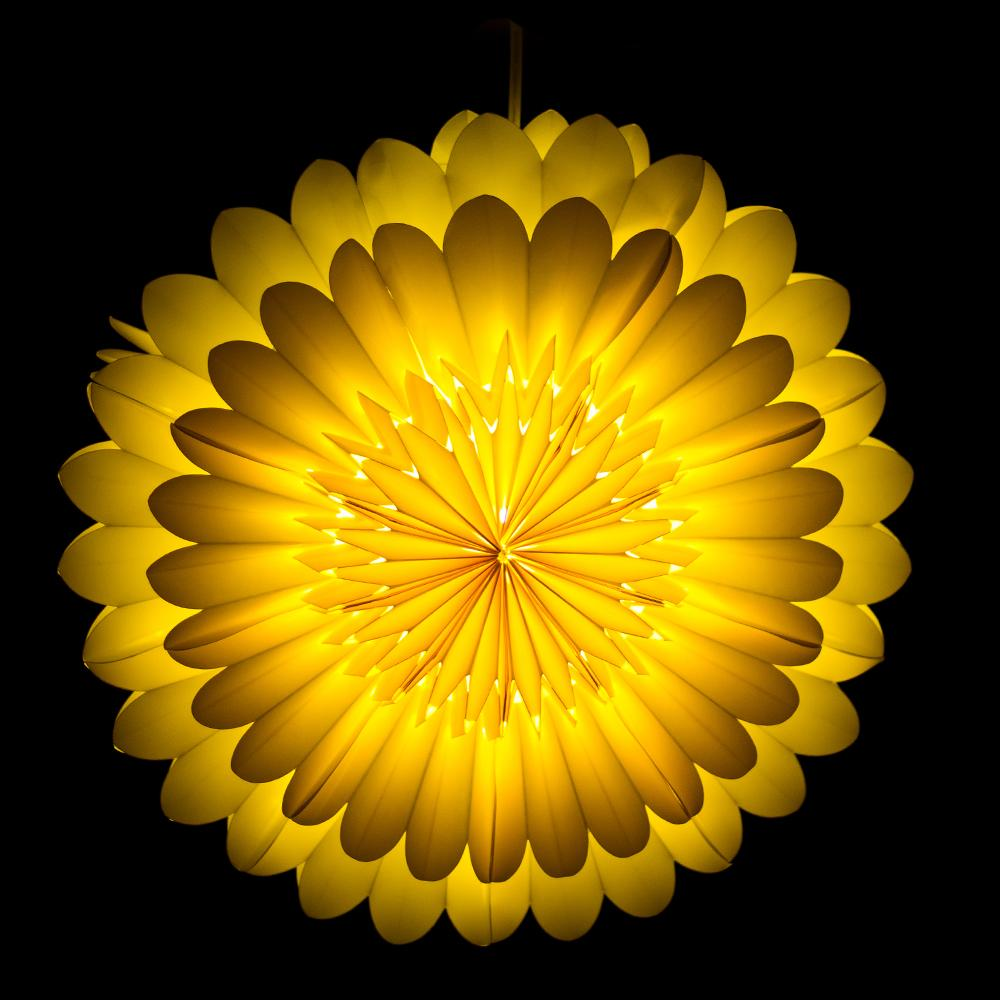 "CLOSEOUT 18"" Yellow Lotus Premium Handcrafted Paper Flower Lantern Light Decoration - Luna Bazaar 