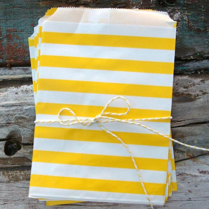 CLOSEOUT Yellow Stripe Paper Treat Bags - (12 PCS) - Luna Bazaar | Boho & Vintage Style Decor