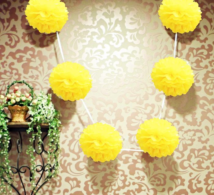 "EZ-Fluff 6"" Yellow Hanging Tissue Paper Flower Pom Pom, Party Garland Decoration - Luna Bazaar - Discover. Decorate. Celebrate"