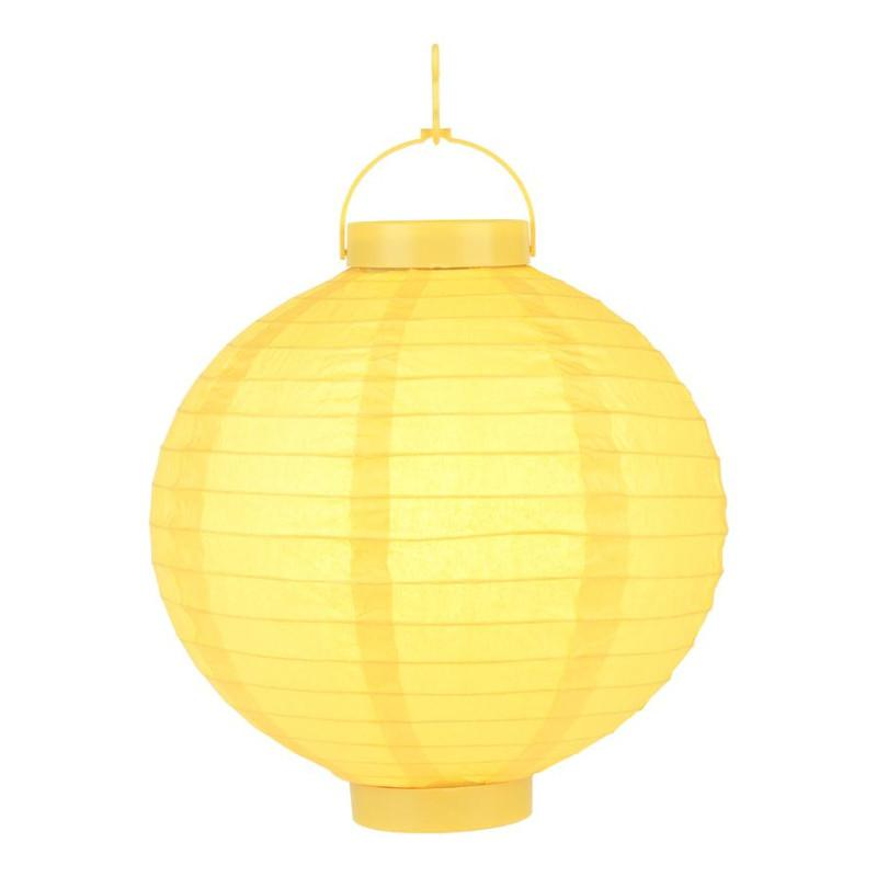"CLOSEOUT 8"" ""Budget Friendly"" Battery Operated LED Paper Lantern - Yellow - Luna Bazaar 
