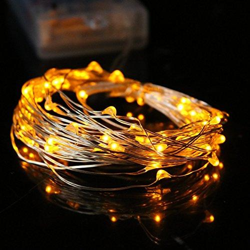 7.5 FT 20 LED Battery Operated Amber Fairy String Lights With Silver Wire - Luna Bazaar | Boho & Vintage Style Decor