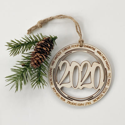 Wood ornament that commemorates 2020
