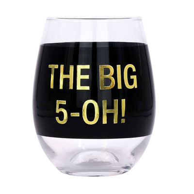"Stemless wine glass with a black band that says ""the big 5-oh!"""