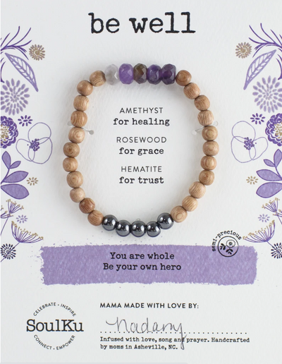 Gemstone bracelet with amethyst to promote healing and wellness