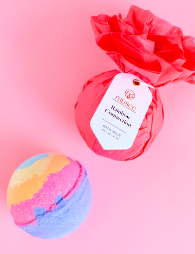 "Bath bomb for kids called ""rainbow connection"" creates a kaleidoscope of colors in the bath!"