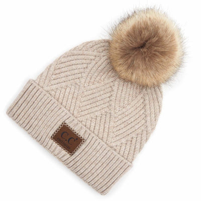 Taupe beanie with faux fur pom