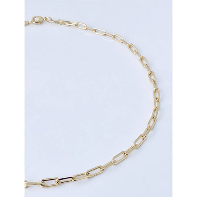 Paperclip chain necklace is gold filled with a lobster clasp and is available in 16 or 18 inch lengths